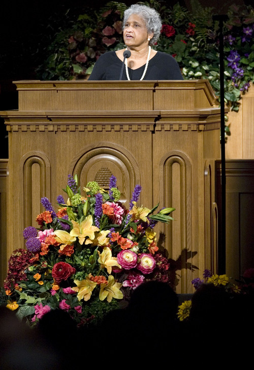 Jim Urquhart  |  Tribune file photo Catherine Stokes talks at the Tabernacle on Temple Square in Salt Lake City on June 8, 2008, at an event marking the 30th anniversary of the end of the LDS Church's ban on blacks holding the faith's all-male priesthood.