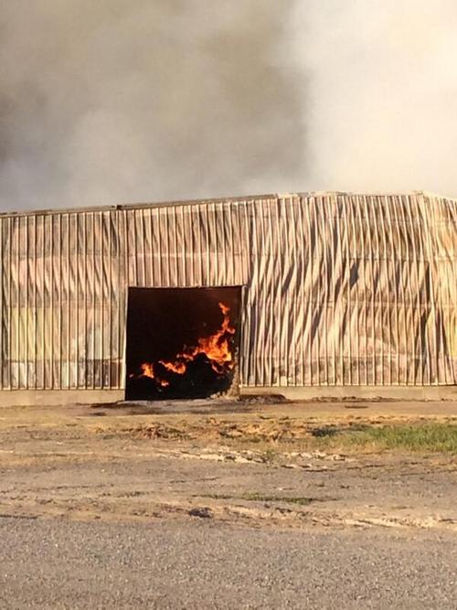 Box Elder County crews were hard-pressed in fight against hay cubing plant fire. (KUTV News photo)