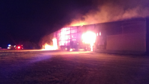 Courtesy of Box Elder County Fire Marshal's Office Fire at hay cubing plant in Box Elder County could take weeks to extinguish.