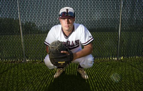 Steve Griffin  |  The Salt Lake Tribune  Jordan High School baseball player Colton Shaver on the Beetdigger baseball field in  Sandy, Utah Thursday, June 5, 2014.