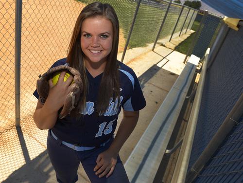 Leah Hogsten  |  The Salt Lake Tribune Tribune softball MVP, pitcher Kirtlyn Bohling from Salem Hills High School, Thursday, June 5, 2014.