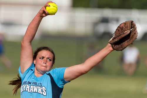 Trent Nelson  |  The Salt Lake Tribune Salem Hills pitcher Kirtlyn Bohling in action as Salem Hills defeats Bonneville High School in the first game of the 4A softball state championship, Thursday May 22, 2014.