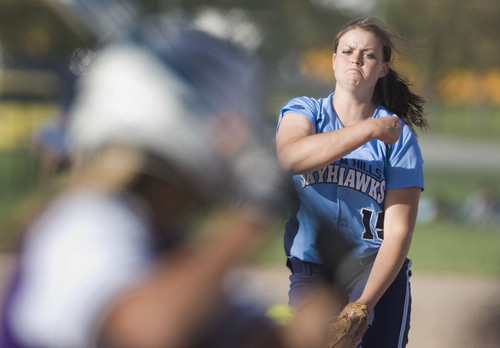 Keith Johnson | The Salt Lake Tribune  Salem Hills pitcher Kirtlyn Bohling delivers the ball to the plate during the 4A softball championship game May 23, 2013. Salem Hills beat Box Elder for the title.