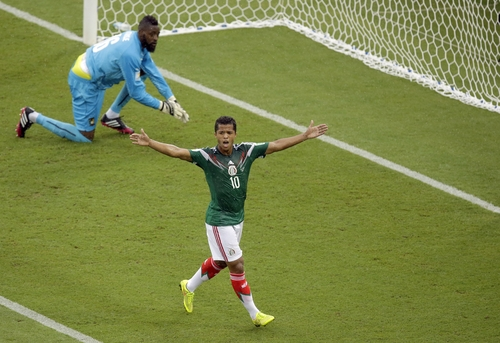Mexico's Giovani dos Santos, right, reacts after a goal was disallowed while Cameroon's goalkeeper Charles Itandje looks on during the group A World Cup soccer match between Mexico and Cameroon in the Arena das Dunas in Natal, Brazil, Friday, June 13, 2014.  AP Photo/Hassan Ammar)
