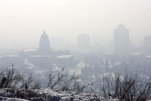 Paul Fraughton  |   Salt Lake Tribune The Utah State Capitol Building  and the downtown buildings of  Salt Lake City are shrouded  in a thick layer of smog  as the winter inversion continues.  Tuesday, January 22, 2013