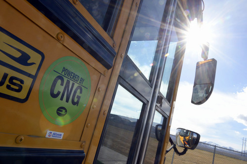 Francisco Kjolseth  |  The Salt Lake Tribune A few school buses that run on compressed natural gas pull up to Sunset Ridge Middle school in West Jordan on Monday, March 3, 2014 before loading up with students for the trip home. Out of 21 buses that pulled up, three ran on compressed natural gas. The Jordan District has more CNG buses than any other in the state.