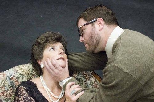 "Courtesy Photo  Teresa Sanderson as Martha and Jared Larkin as George in Pinnacle Acting Company's ""Who's Afraid of Virginia Woolf?"""
