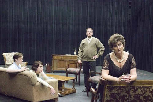 """Courtesy Photo  Teresa Sanderson as Martha and Jared Larkin as George, with Marin  Kohler as Honey and Mike Brown as Nick in Pinnacle Acting Company's production of """"Who's Afraid of Virginia Woolf?,"""" to be staged in the Jewett Center for the Performing Arts at Westminster College June 12-28."""