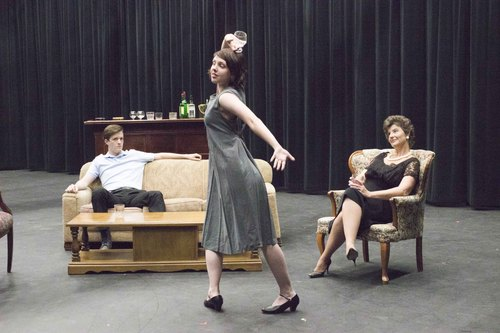 """Courtesy Photo   Marin Kohler as Honey and Mike Brown as Nick Teresa Sanderson as Martha in Pinnacle Acting Company's production of """"Who's Afraid of Virginia Woolf?,"""" to be staged in the Jewett Center for the Performing Arts at Westminster College June 12-28."""