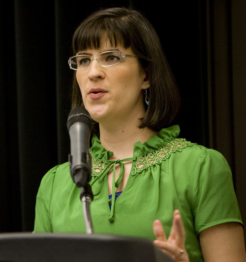 Kim Raff  |  The Salt Lake Tribune Kate Kelly, founder of Ordain Women, an organization advocating faithfully for the ordination of Mormon women to the priesthood, gives an introduction during the organization's official launch event in the Union Theatre in Salt Lake City on April 6, 2013.