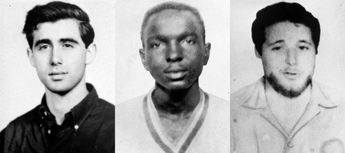 ADVANCE FOR USE SUNDAY, JUNE 15, 2014, AND THEREAFTER - FILE - This undated file combination photo made from photos provided by the FBI on June 29, 1964, shows civil rights workers, from left, Andrew Goodman, James Chaney and Michael Schwerner. The three, who disappeared near Philadelphia, Miss., on June 21, 1964, were later found buried in an earthen dam in rural Neshoba County. Authorities said they had been beaten and shot at close range. (AP Photo/FBI, File)