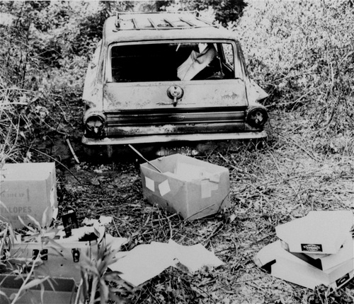 "ADVANCE FOR USE SUNDAY, JUNE 15, 2014, AND THEREAFTER - FILE - This June 24, 1964 file photo shows the burned station wagon of three missing civil rights workers, Michael Schwerner, Andrew Goodman, and James Chaney, in a swampy area near Philadelphia, Miss. The bodies of the men were found later in an earthen dam. Student Nonviolent Coordinating Committee organizer Larry Rubin wrote in an article for a student magazine back at Antioch College in Ohio, ""What courage it takes to attempt to register!"" wrote Rubin, ""Your name is printed in the local paper. You can probably count on being fired or losing your sharecrop. Many who attempted to register have been beaten, or have had their house burned. Some have been killed."" (AP Photo/Jack Thornell, File)"