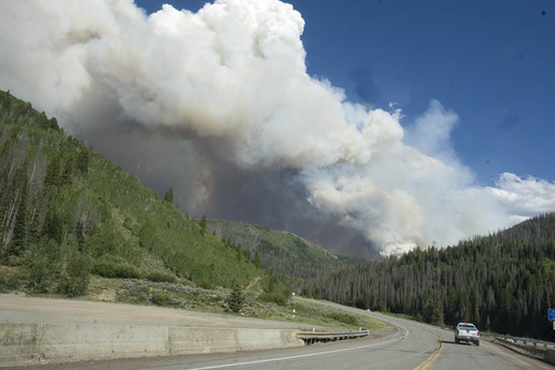 The Seeley fire in the Manti-La Sal National forest Wednesday, June 27, 2012, as seen from state road 31. (AP Photo/Paul Fraughton, The Salt Lake Tribune)