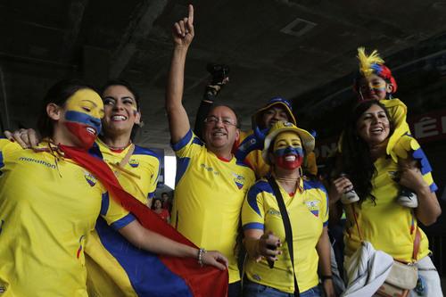 Fans of Ecuador celebrate before the start of the match between Ecuador vs Switzerland, in Brasilia, Brazil, Sunday, June 15, 2014. Ecuador plays in group E of the soccer World Cup. (AP Photo/Eraldo Peres)