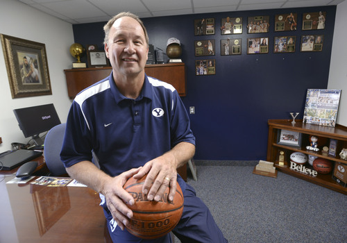 Al Hartmann  |  The Salt Lake Tribune BYU women's basketball coach Jeff Judkins has taken the road less traveled in his coaching career. His office is in LaVell Edwards old office in the athletic department at BYU.