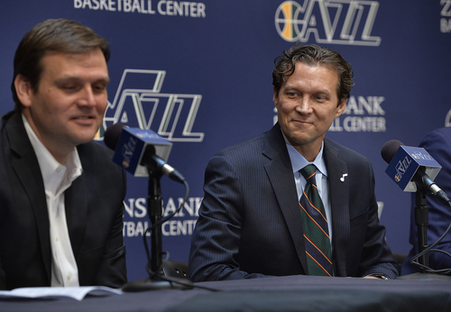 Scott Sommerdorf   |  The Salt Lake Tribune The Utah Jazz introduced Quin Snyder, right, as their new head coach, Saturday, June 7, 2014. Jazz GM Dennis Lindsey is at left.