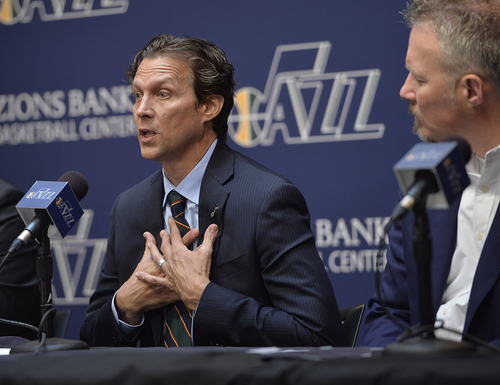 Scott Sommerdorf   |  The Salt Lake Tribune Jazz coach Quin Snyder gestures as he talks about aspects of his coaching philosophy. The Utah Jazz introduced Quin Snyder as their new head coach, Saturday, June 7, 2014.