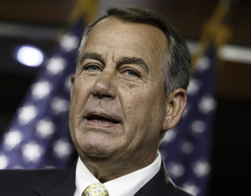 House Speaker John Boehner of Ohio talks to reporters during a news conference on Capitol Hill in Washington, Thursday, June 19, 2014. Boehner and congressional leaders met with President Barack Obama yesterday about the ongoing crisis in Iraq. The speaker charged that terrorism and the unrest in the Middle East had worsened during Obama's term. (AP Photo/J. Scott Applewhite)