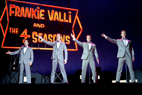 "This photo released by Warner Bros. Pictures shows, from left, John Lloyd Young as Frankie Valli, Erich Bergen as Bob Gaudio, Vincent Piazza as Tommy DeVito, and Michael Lomenda as Nick Massi in Warner Bros. Pictures' musical ""Jersey Boys,"" a Warner Bros. Pictures release. (AP Photo/Courtesy Warner Bros., Keith Bernstein)"