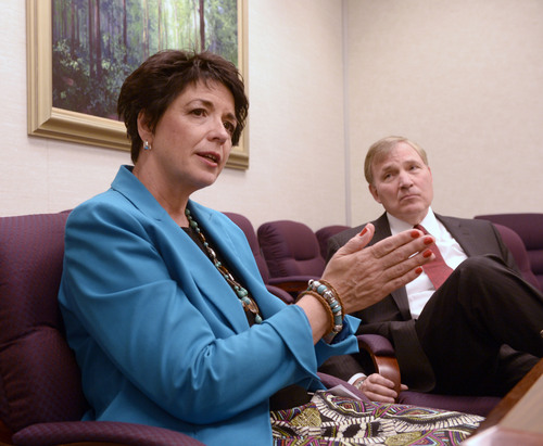 Al Hartmann  |  The Salt Lake Tribune  Sherilyn Stinson LCSW, Field Group Manager with LDS Family Services and David M McConkie, Manager, Services for Children talk about changes the church is implimenting in LDS Family Services' adoptions.