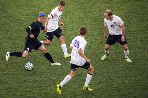 Chris Detrick  |  The Salt Lake Tribune Fremont's Brayden Searle (3) Riverton's Tanner Dunkley (26) Riverton's Nicholas Tanner (29) and Riverton's Hunter McFall (19) go for the ball during the 5A Championship game at Rio Tinto Stadium Thursday May 22, 2014.
