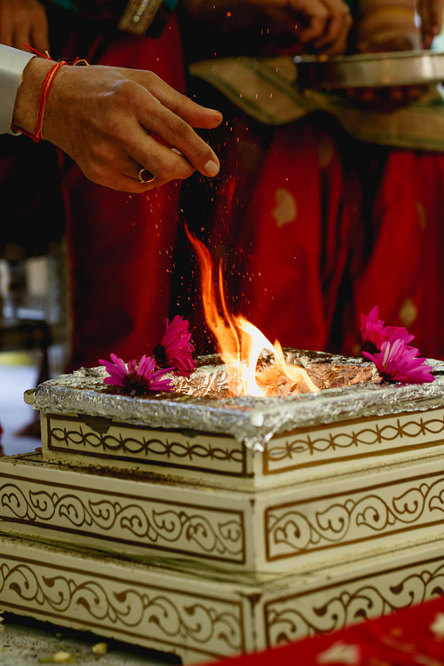 photo courtesy Nadia D Photography  Rituals conducted at the Patel-Dhingra wedding in Holladay during the first day of a three-day ceremony Thursday, July 19, 2014. The wedding concludes on Saturday.