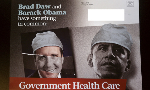 This mailer was sent out to voters in Rep. Brad Daw's district in March of 2012. Daw and his fellow legislators were so upset by the mailer funded by unknown donors that they changed the law to require PACs, like the one responsible for the mailer, to disclose more. It was discovered in the John Swallow investigation that most of the funding came from the payday loan industry. Courtesy image