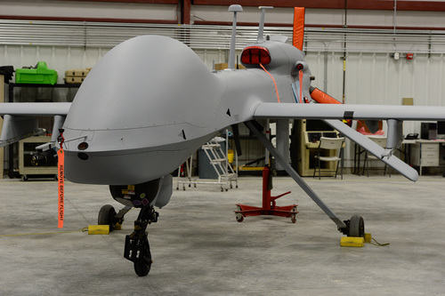 Francisco Kjolseth  |  The Salt Lake Tribune Most of the Army's testing for unmanned aerial vehicles happens at Dugway Proving Ground. In this photo from 2014, a Gray Eagle sits in a hangar.