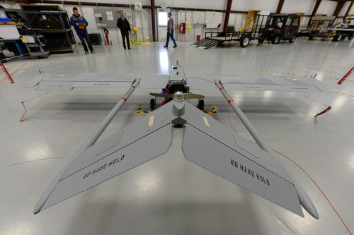 Francisco Kjolseth  |  The Salt Lake Tribune In this 2014 photo, a RQ-7 Shadow sits in a hangar at the Dugway Proving Ground. The Shadow is a reconnaissance aircraft. A catapult launches it.