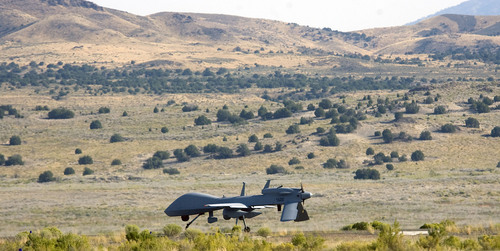 Al Hartmann  |  The Salt Lake Tribune Aircraft of the Unmanned System Integration Capability (MUSIC) was demonstrated at Dugway Proving Grounds Thursday Sepetmeber 15.  An unmanned MQ-1C  Gray Eagle taxis on landing strip at Dugway before takeoff.