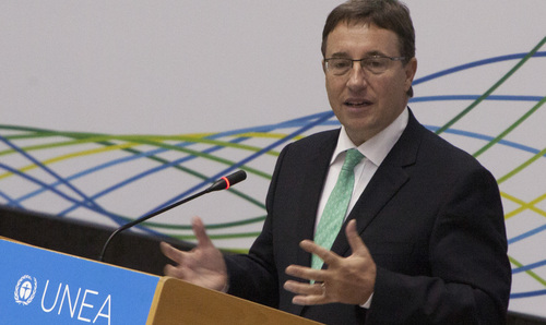 Achim Steiner, Executive Director of United Nations Environment Programme( UNEP) addresses the delegates, at the United Nations Headquarters in Nairobi, Kenya, Monday, June 23, 2014, during the opening of the UN Environment Assembly (UNEA), the highest-level United Nations body ever convened on environment. (AP Photo/Sayyid Azim)