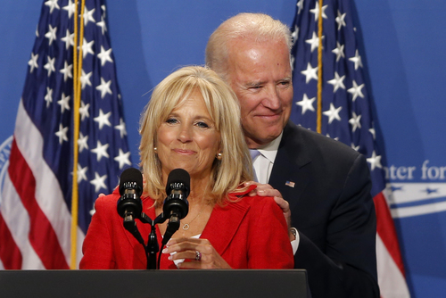 Jill Biden introduces her husband, U.S. Vice President Joe Biden, at The White House Summit on Working Families, Monday, June 23, 2014, in Washington. The gathering, organized by the White House, Labor Department and the Center for American Progress, highlights the challenges and offers solutions faced by working families in America. (AP Photo/Charles Dharapak)