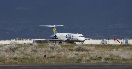 Tribune file photo by Leah Hogsten  |   An Allegiant Air plane lands at the Ogden-Hinckley Airport, whose passenger numbers quadruped after the airline began serving routes there.