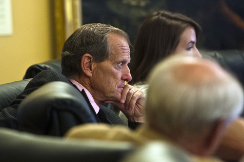 Chris Detrick  |  The Salt Lake Tribune House Majority Leader Brad L. Dee, R-Ogden, listens during a special House committee investigating Attorney General John Swallow at the Utah State Capitol Tuesday August 6, 2013.