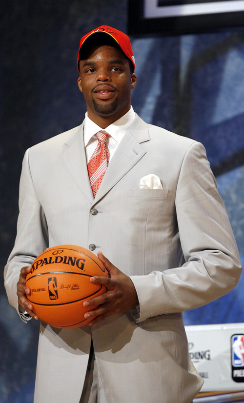 Shelden Williams, a forward from Duke, poses for a photo after he is chosen by the Atlanta Hawks as the fifth overall pick of the 2006 NBA Draft Wednesday, June 28, 2006 at Madison Square Garden in New York.   (AP Photo/Kathy Willens)