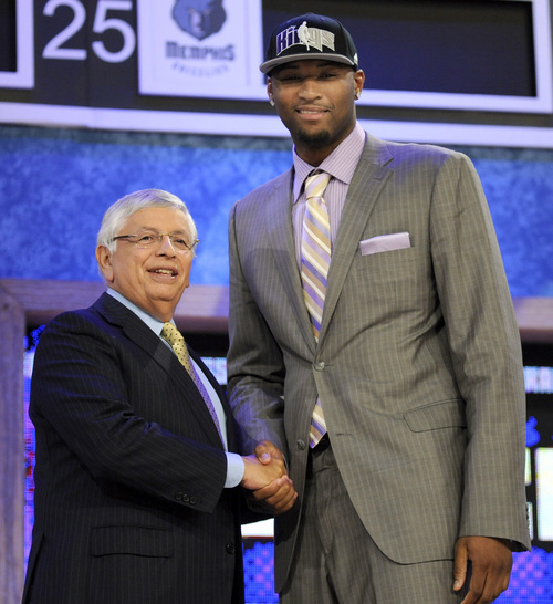 NBA commissioner David Stern, left, poses with DeMarcus Cousins, a forward from Kentucky, whom the Sacramento Kings chose with the No. 5 pick in the NBA basketball draft, Thursday, June 24, 2010, in New York. (AP Photo/Bill Kostroun)