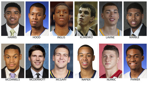 These are possible picks for the NBA Draft, June 26, 2014 in New York. Top row from left are Gary Harris, Michigan State; Rodney Hood, Duke; Damien Inglis, Roanne (France); Artem Klimenko, Saratov (Russia); Zach LaVine and Devyn Marble, Iowa. Bottom from left are DeAndre McDaniels, Connecticut; Doug McDermott, Creighton; Mitch McGary, Michigan; Shabazz Napier, Connecticut; Jusuf Nurkic, Cedevita (Croatia) and Jabari Parker, Duke. (AP Photo)