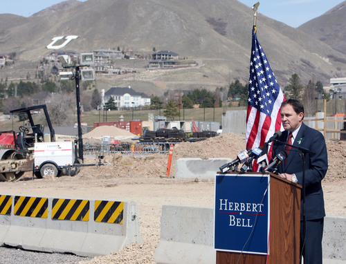 Steve Griffin  |  The Salt Lake Tribune  Salt Lake City - Utah governor Gary Herbert announces his candidacy for the governor race at a construction site on the campus of the University of Utah in Salt Lake City Wednesday Mar 17, 2010.