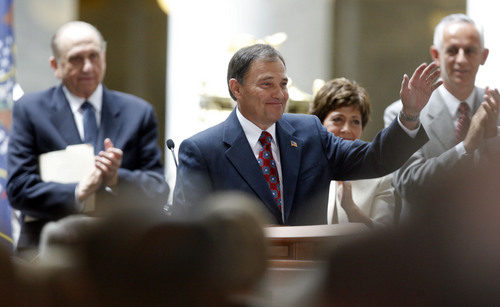 Francisco Kjolseth  |  The Salt Lake Tribune Governor Gary Herbert gets a warm response following his inaugural address on Tuesday, Aug. 11, 2009. People filled the Utah State Capitol for a farewell address of Ambassador-Designate Governor Jon Huntsman Jr. and the inauguration of Gary Herbert as the 17th governor of the state of Utah.