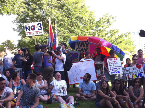 Harry Stevens   Salt Lake Tribune  Crowds gathered in City Creek Park on Wednesday evening, June 25, 2014, to celebrate the 10th Circuit Court of Appeals's decision that same-sex marriage bans are unconstitutional.