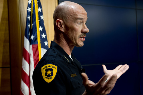 Jeremy Harmon     The Salt Lake Tribune  Salt Lake City Police Chief Chris Burbank answers questions during a press conference about the June 18th incident where Officer Brett Olsen shot and killed Sean Kendall's dog, Geist.