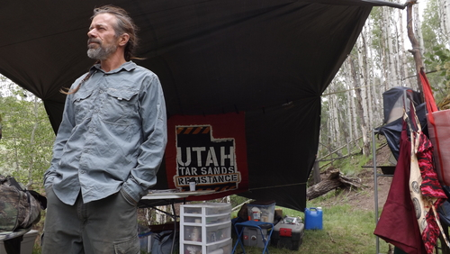 "(David Self Newlin | The Salt Lake Tribune)  Lionel Trepanier, a member of the Utah Tar Sands Resistance which is camping at PR Springs in what they call a permanent ""protest vigil"" in an effort to stop development of tar sands in the area."