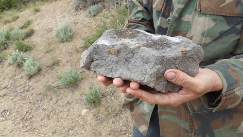 """(David Self Newlin   The Salt Lake Tribune) Bituminous rock just outside the abandoned Bryson 4 mine, near PR Springs in eastern Utah. Utah Tar Sands Resistance which is camping at PR Springs in what they call a permanent """"protest vigil"""" in an effort to stop development of tar sands in the area."""