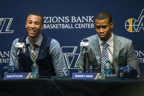 Chris Detrick  |  The Salt Lake Tribune Utah Jazz's Dante Exum and Rodney Hood during a press conference at the Zions Bank Basketball Center Friday June 27, 2014.