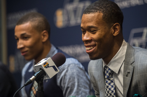 Chris Detrick  |  The Salt Lake Tribune Utah Jazz's Rodney Hood speaks during a press conference at the Zions Bank Basketball Center Friday June 27, 2014.