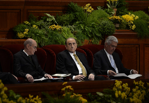 Scott Sommerdorf   |  The Salt Lake Tribune President Thomas S. Monson sits between First Counselor Henry B. Eyring, left, and Second Counselor Deiter F. Uchtdorf, right at the beginning of the morning session of the 184th General Conference of the Church of Jesus Christ of Latter Day Saints, Sunday, April 6, 2014. On Saturday, June 28, 2014,  the church's top leaders issued a rare joint statement reaffirming that priesthod offices are reserved for men.