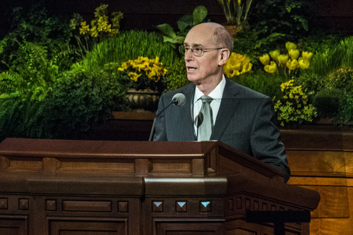 Chris Detrick  |  The Salt Lake Tribune  President Henry B. Eyring, First Counselor in the First Presidency, speaks during the morning session of the 184th Semiannual General Conference of The Church of Jesus Christ of Latter-day Saints Saturday April 5, 2014. On Saturday, June 28, 2014,  the church's top leaders issued a rare joint statement reaffirming that priesthod offices are reserved for men.