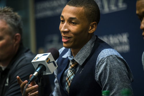 Chris Detrick  |  The Salt Lake Tribune Utah Jazz's Dante Exum speaks during a press conference at the Zions Bank Basketball Center Friday June 27, 2014.
