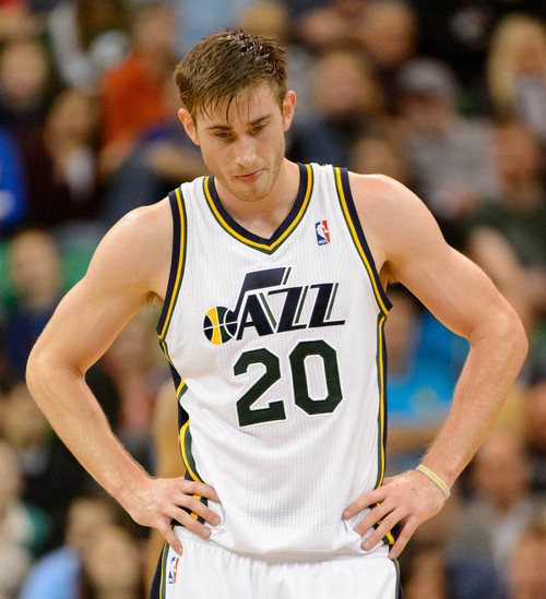 Trent Nelson  |  The Salt Lake Tribune Utah Jazz shooting guard Gordon Hayward (20) as the Jazz face the New Orleans Pelicans, NBA basketball at EnergySolutions Arena in Salt Lake City, Wednesday November 13, 2013.