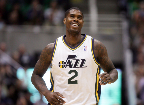 Kim Raff  |  The Salt Lake Tribune Utah Jazz power forward Marvin Williams (2) celebrates hitting a buzzer beater shot during the second half against the Brooklyn Nets at EnergySolutions Arena in Salt Lake City on March 30, 2013.  The Jazz won the game 116-107.